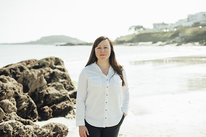 Sam Pengelly owner of Magareth Marketing out and about on Looe Beach